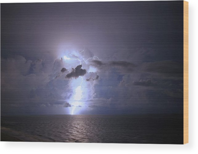 Lightning Wood Print featuring the photograph Lightning Striking The Gulf by James Jones