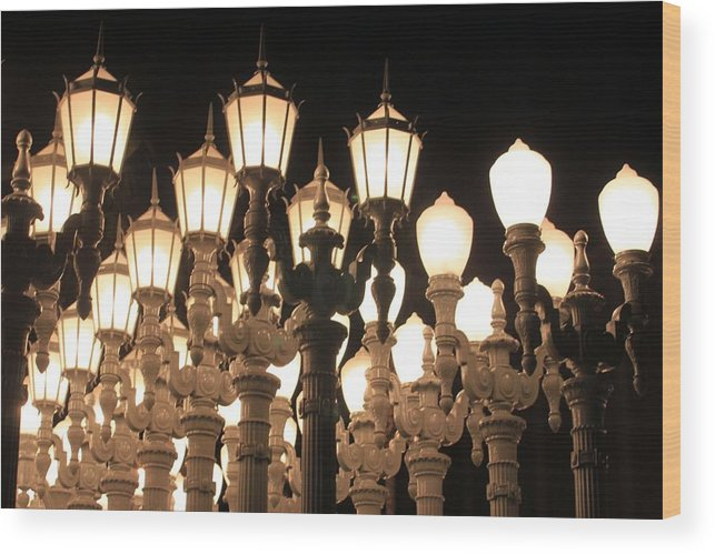 Lights Wood Print featuring the photograph Lights At The Lacma La County Museum Of Art 0769 by Edward Ruth