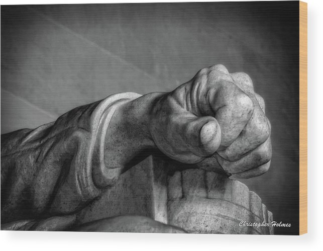 Lincoln Wood Print featuring the photograph Lincoln's Left Hand B-w by Christopher Holmes