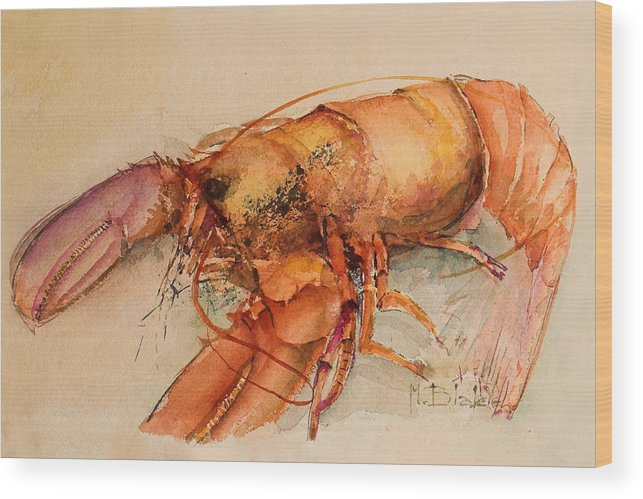 Food Wood Print featuring the painting Lobster by Blake Originals - Marjorie and Beverly