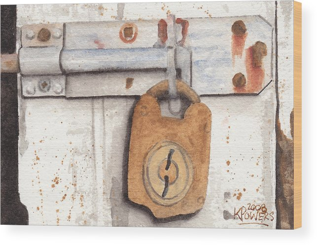 Rust Wood Print featuring the painting Lock And Latch by Ken Powers