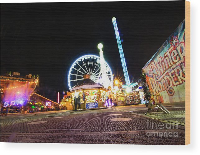 Street Artist Wood Print featuring the photograph London Christmas Markets 21 by Alex Art and Photo