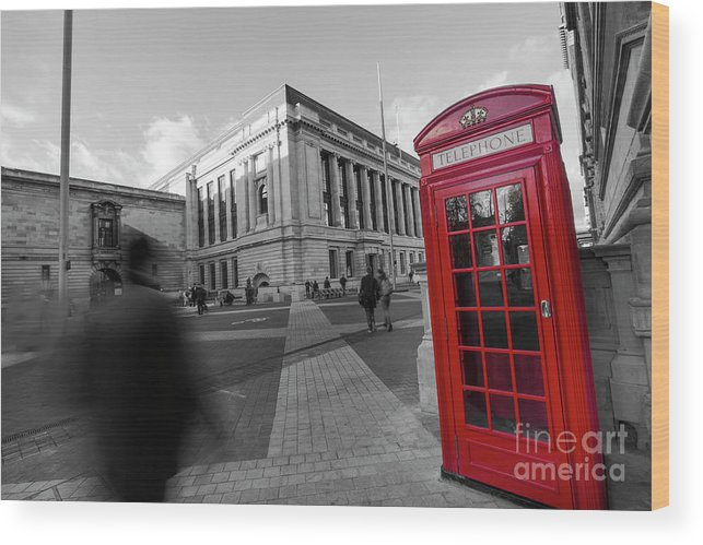 Big Ben Wood Print featuring the photograph London Telephone 2 B by Alex Art and Photo