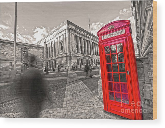 Big Ben Wood Print featuring the photograph London Telephone 2 C by Alex Art and Photo