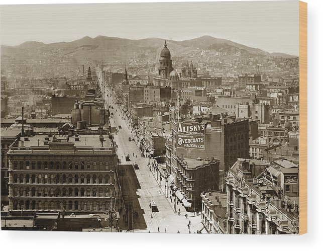 San Francisco Wood Print featuring the photograph Looking Up Market Street From The Call Building With City Hall Circa 1900 by California Views Archives Mr Pat Hathaway Archives