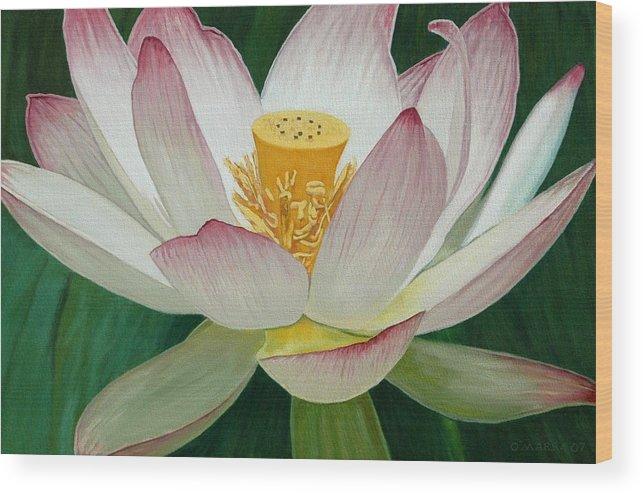 Flower Wood Print featuring the painting Lotus Of Awakening by Allan OMarra