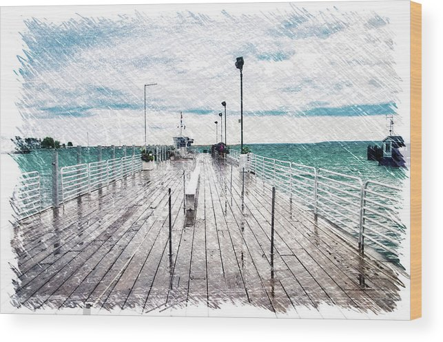 Mackinac Wood Print featuring the photograph Mackinac Island Michigan Shuttle Pier Pa 02 by Thomas Woolworth