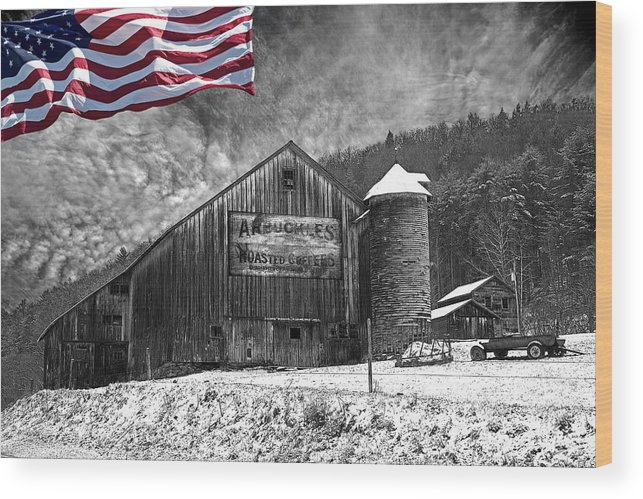 Black And White Wood Print featuring the photograph Made In America Red White And Blue by John Stephens