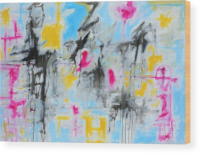 Painting Wood Print featuring the painting Magenta Abstract II by Michael Henderson