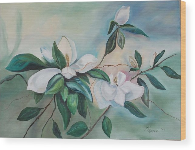 Flowers Wood Print featuring the painting Magnolia Summer by Margaret Fortunato