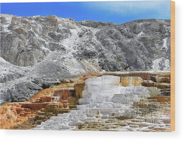 Yellowstone Wood Print featuring the photograph Mammoth Hot Springs3 by Hughes Country Roads Photography