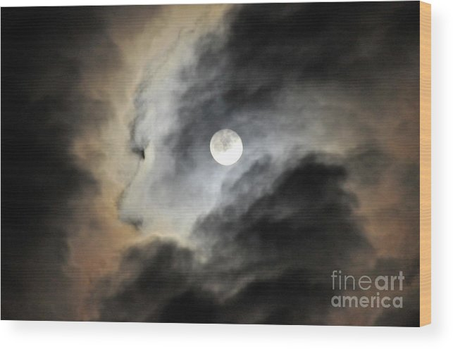 Landscape Photographs Wood Print featuring the photograph Man And Moon by Cindy Lee Longhini