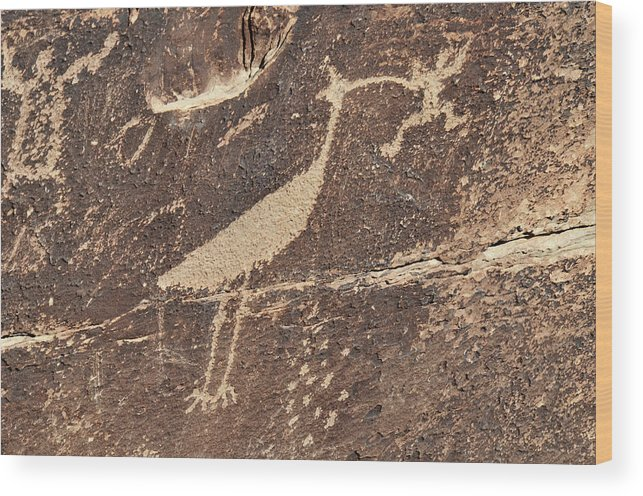 Petroglyph Wood Print featuring the photograph Man In Beak by David Arment