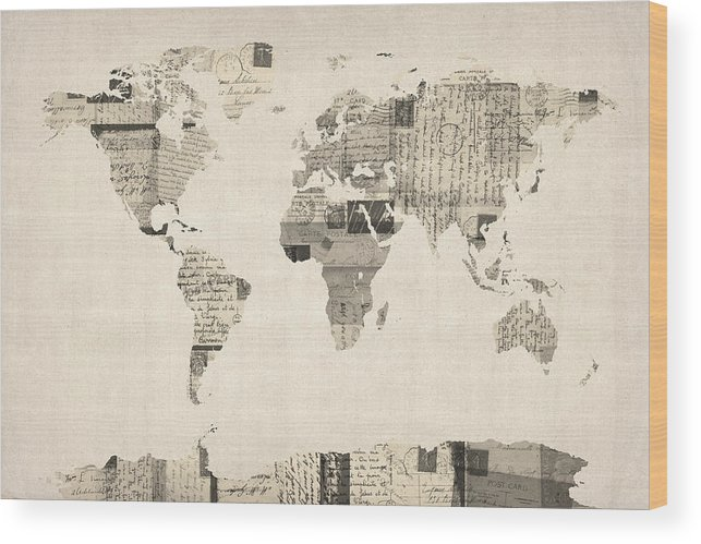 World Map Wood Print featuring the digital art Map Of The World Map From Old Postcards by Michael Tompsett