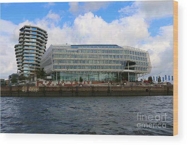 hamburg wood print featuring the photograph marco polo tower and unilever house