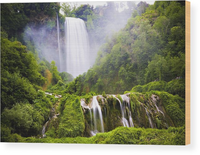 Italy Wood Print featuring the photograph Marmore Waterfalls Italy by Marilyn Hunt