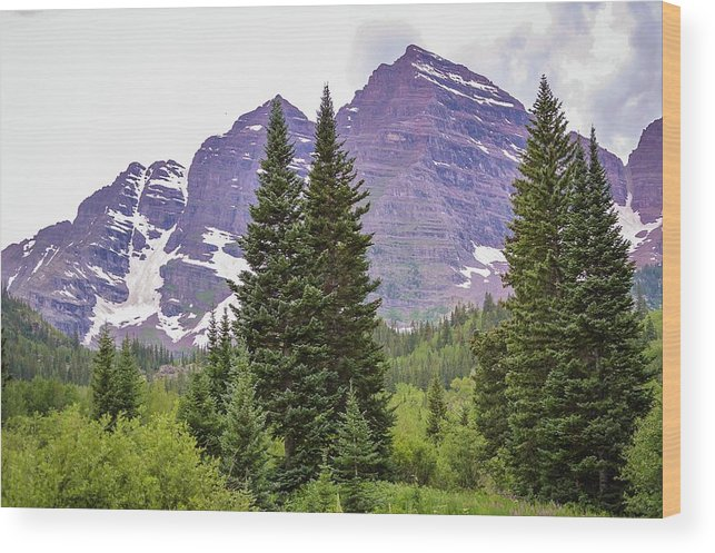Maroon Bells Wood Print featuring the photograph Maroon Bells by Livia Pavelescu