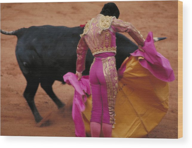 Fight Wood Print featuring the photograph Matador And Bull by Carl Purcell