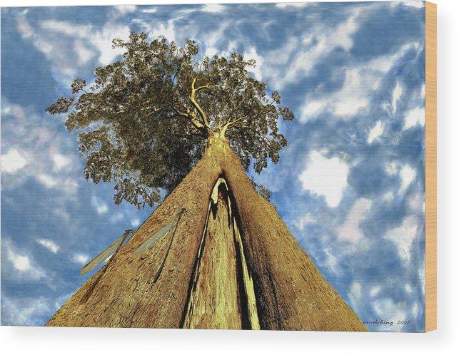 Mayflies Wood Print featuring the painting Mayflies On The Eucalyptus Viminalis by Sarah King