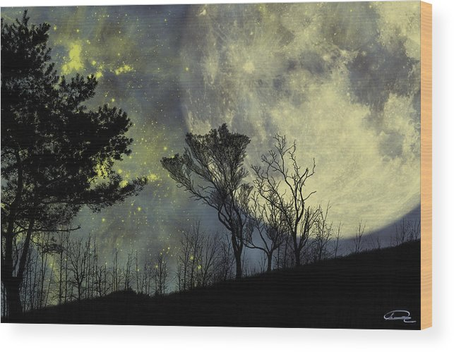 Night Wood Print featuring the painting Memories by Emma Alvarez
