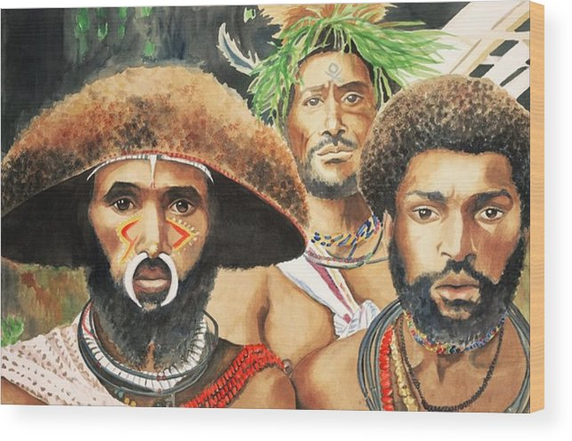 Men From New Guinea Wood Print featuring the painting Men From New Guinea by Judy Swerlick