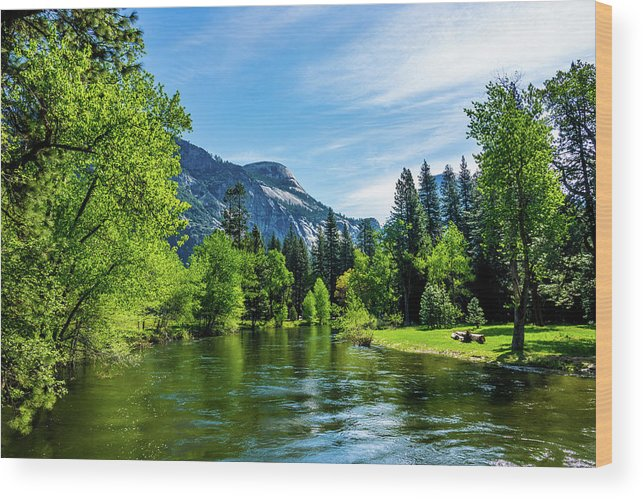 California Wood Print featuring the photograph Merced River In Yosemite Valley by Randy Herring
