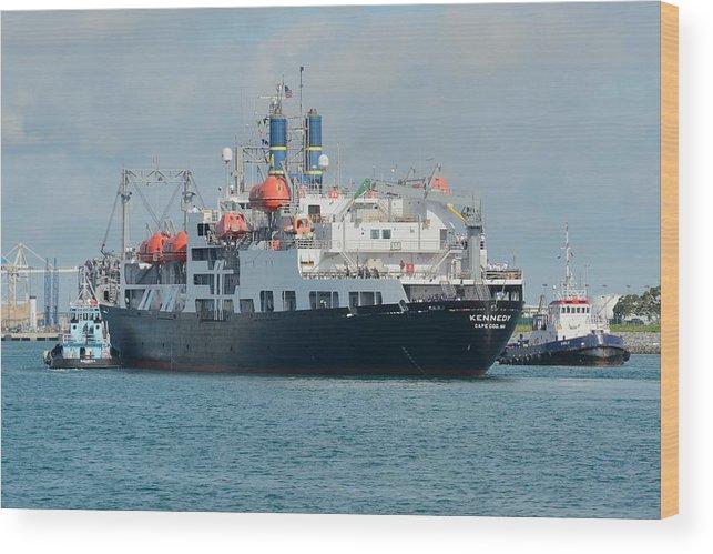 Merchant Marine Wood Print featuring the photograph Merchant Marine Training Ship Kennedy And Tugboats by Bradford Martin