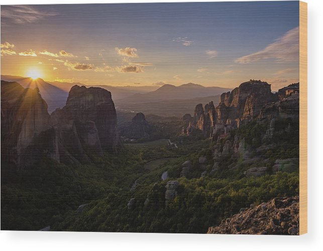Landscape Wood Print featuring the photograph Meteora Sunset by Nikos Stavrakas
