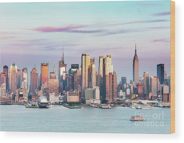 Architecture Wood Print featuring the photograph Midtown Manhattan Skyline At Sunset, New York City, Usa by Matteo Colombo