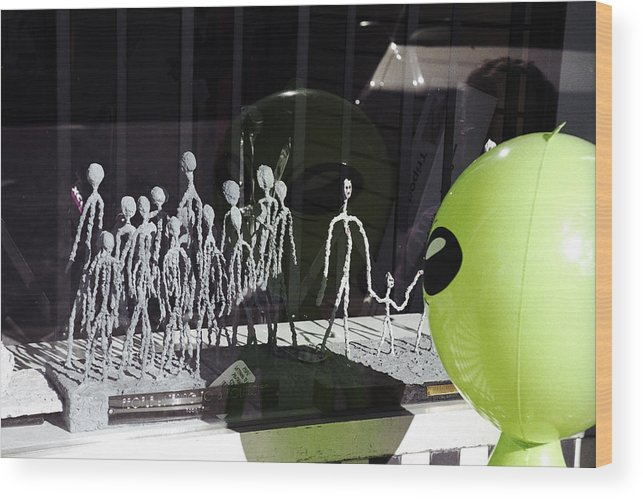 Alien Wood Print featuring the photograph Miniature Greys by Richard Henne