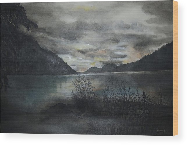Sunset Wood Print featuring the painting Missezula Lake Sunset by Susan Moore