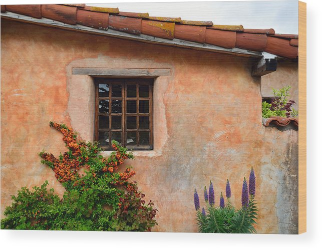 Carmel Mission Wood Print featuring the photograph Mission Wall With Flowers by Kathy Yates