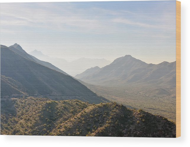 Arizona Wood Print featuring the photograph Misty Mountains by Tom Dowd