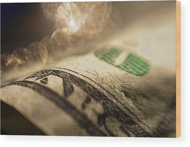Photography Money Bokeh Green Lensbaby Wood Print featuring the photograph Money With Bokeh by Karen LeGeyt