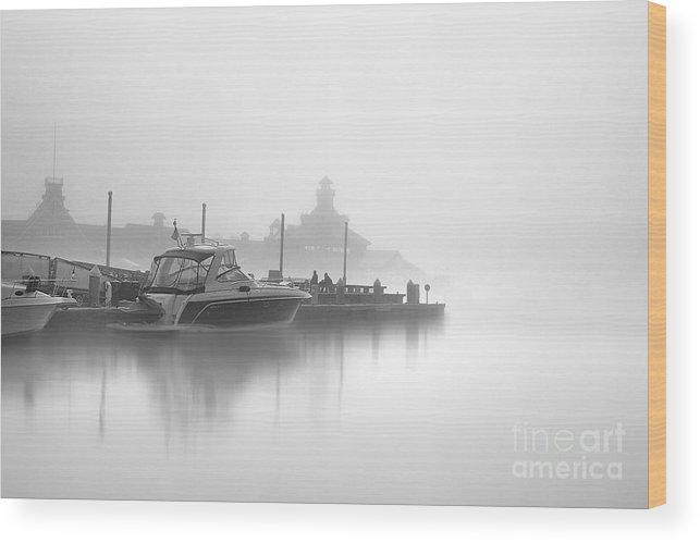 Landscape Photographs Photographs Photographs Wood Print featuring the photograph Mono Boat by Hartono Tai