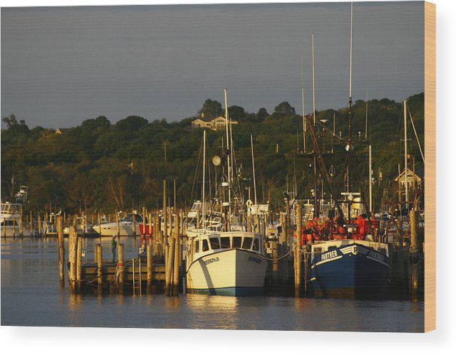 Trawlers Wood Print featuring the photograph Montauk Harbor At Dawn by Christopher Kirby