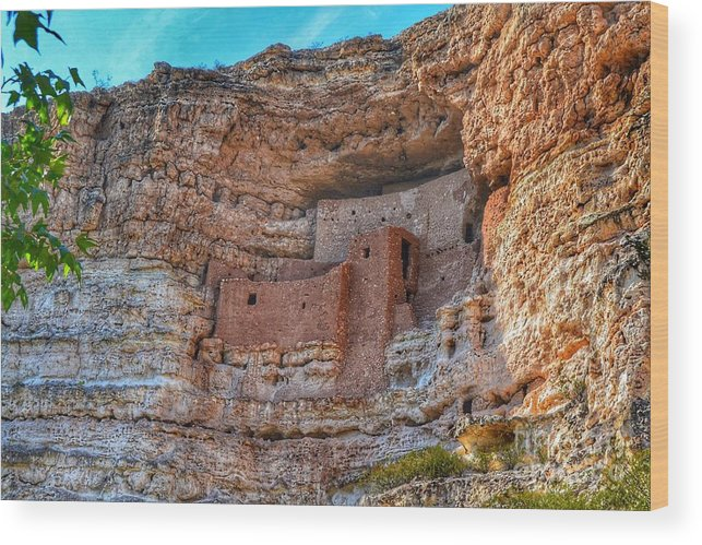 Landmark Wood Print featuring the photograph Montezuma Castle by Tara Ballard
