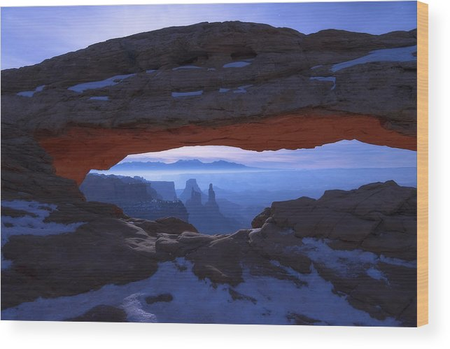 Moonlit Mesa Wood Print featuring the photograph Moonlit Mesa by Chad Dutson