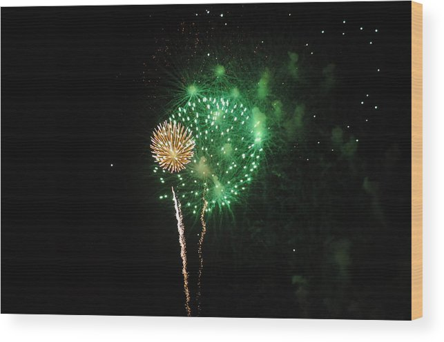 Green Wood Print featuring the photograph More Fireworks by Brynn Ditsche