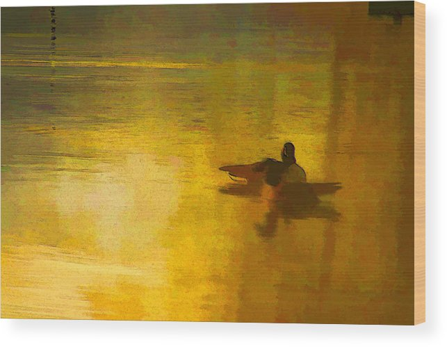 Water Wood Print featuring the digital art Morning Ducks by Ches Black