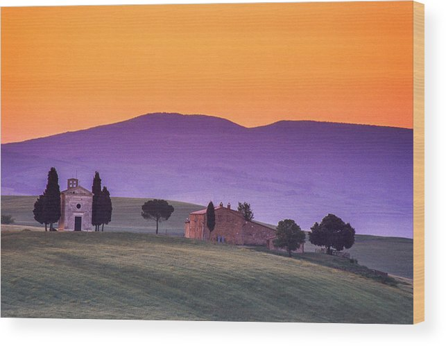 Italy Wood Print featuring the photograph Morning Prayer In A Tuscan Dawn by Andrew Soundarajan