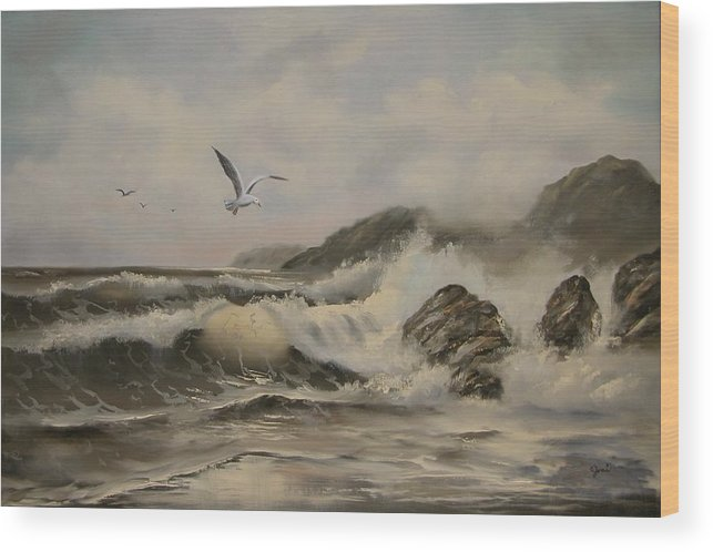 Seascape Wood Print featuring the painting Morning Thunder by Joni McPherson