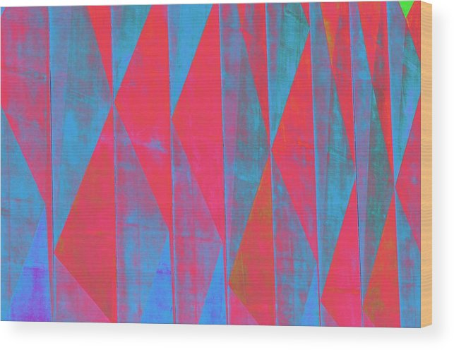 Geometric Pattern Wood Print featuring the photograph Mostly Blues And Reds by Richard Henne