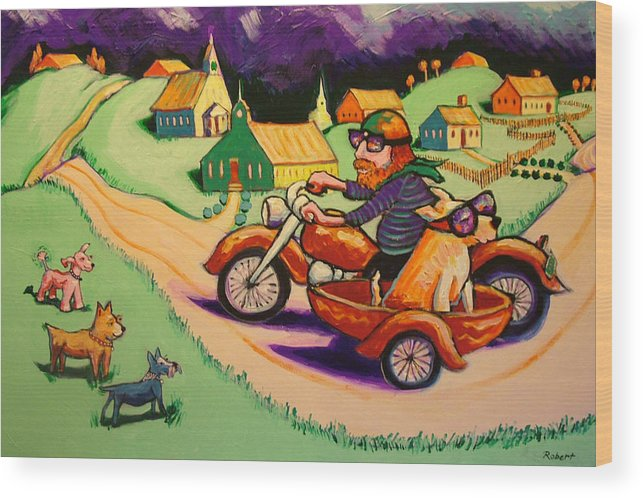 Wood Print featuring the painting Motocycle Mike by Robert Tarr