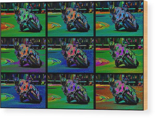 Motorcycle Wood Print featuring the digital art Motorcycle Road Race by Daniel Hagerman
