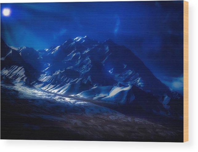 Mount Denali Wood Print featuring the photograph Mount Denali Moonlight Alaska by Timothy Boeh