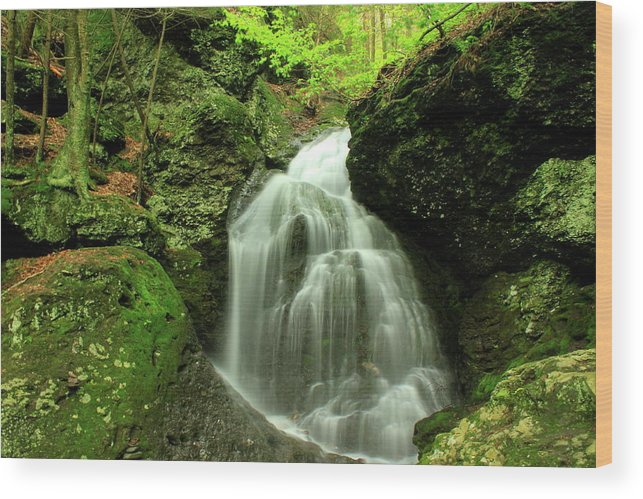 Waterfall Wood Print featuring the photograph Mount Toby Roaring Falls by John Burk