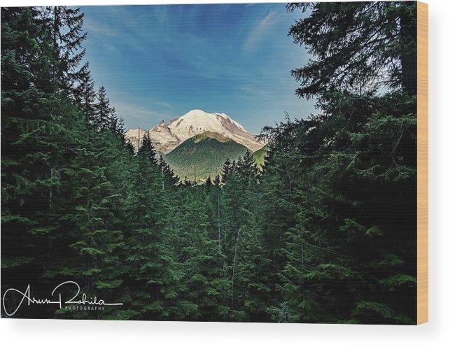 Trees Wood Print featuring the photograph Mt Rainier Through The Trees by Arun Rohila