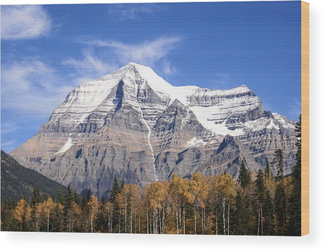 Rocky Mountain Wood Print featuring the photograph Mt. Robson- Canada's Tallest Peak by Tiffany Vest