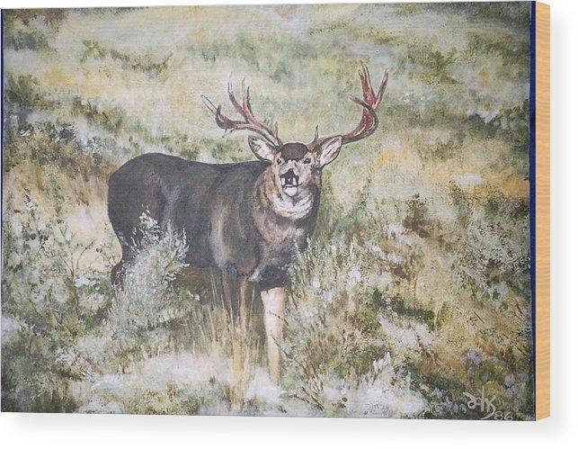 Mule Deer Wood Print featuring the painting Muley by Debra Sandstrom